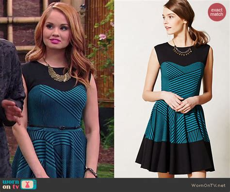 wornontv jessie s blue and black striped dress on