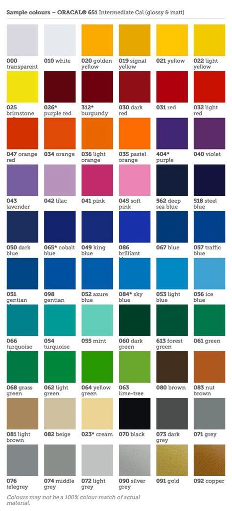 oracal vinyl color chart oracal 651 colour chart silhouette projects