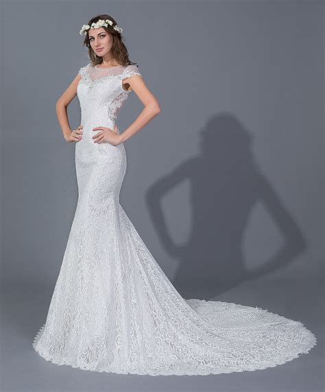 Mermaid Elegant Lace Wedding Dresses with Sheer Back Sexy