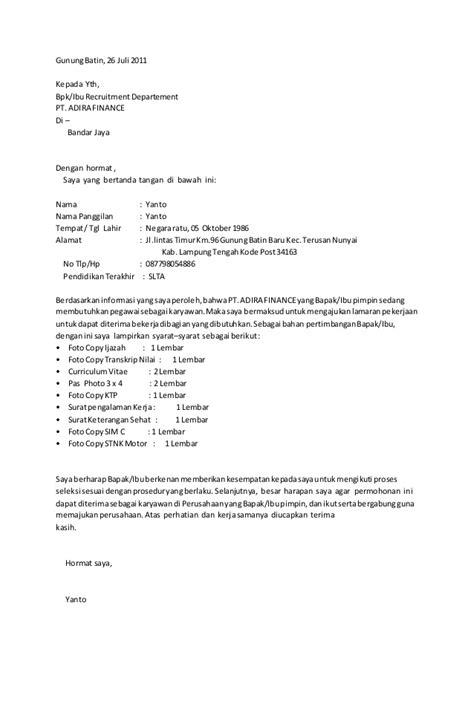 contoh surat lamaran adira finance