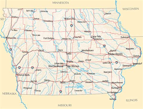 iowa state map map of iowa outravelling maps guide