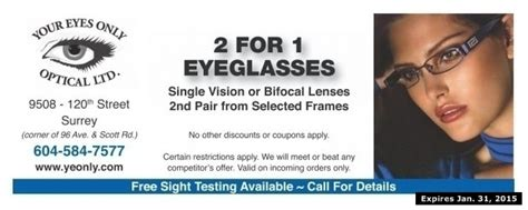 2 for 1 eyeglasses at your only optical ltd health
