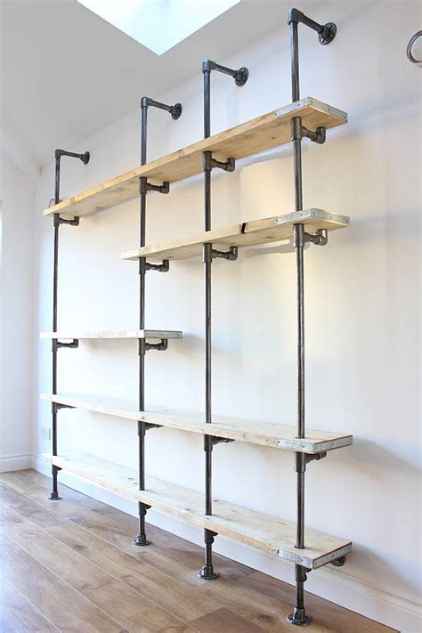 Reclaimed Wood Divider by Wesley Scaffolding Board And Steel Pipe Shelving By Urban