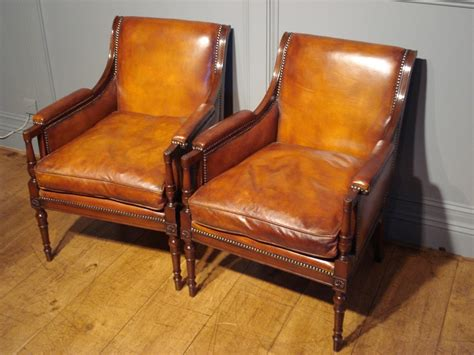 Armchair Sales by Sold Pair Of Studded Leather Library Reading Armchairs