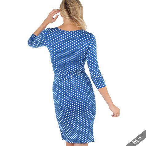 low cut swing dress womens fit polka dot low cut gathered waist 3 4 sleeve