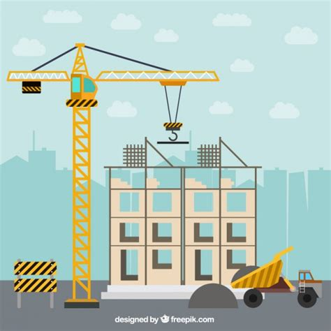design house construction free building a house in flat design with construction elements