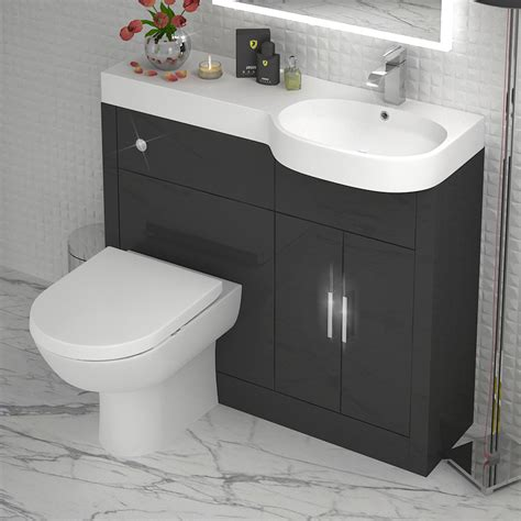 Grey 1000 Vanity Unit Rh Buy Online At Bathroom City Grey Bathroom Vanity Units