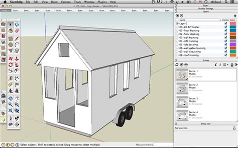 how design a house skechup 20 foot tiny house shell drawing