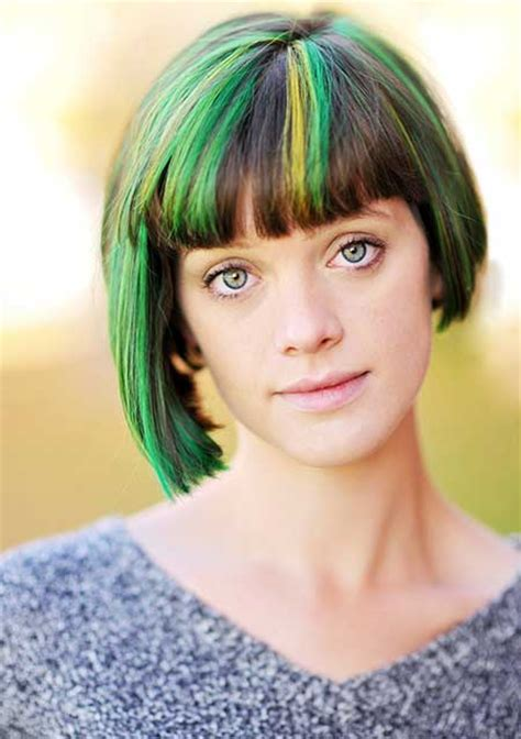 hairstyles with green highlights 20 short hair color ideas short hairstyles 2017 2018