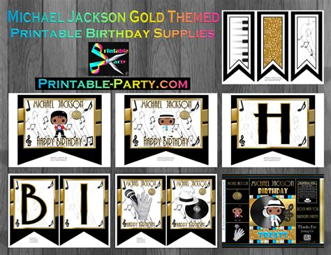 printable michael jackson birthday cards michael jackson birthday printables themed party decorations
