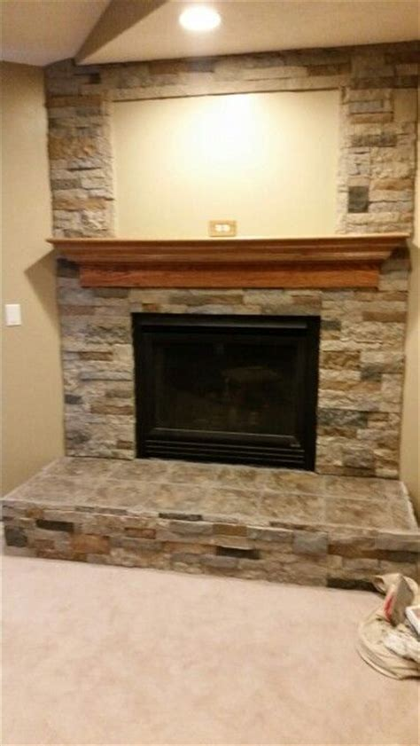 Ceramic Tile Fireplace by Finished Airstone And Ceramic Tile Fireplace Our New
