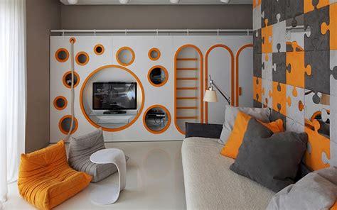 Dgi Interiors by Creative Room Design In Orange Gray Color Combination