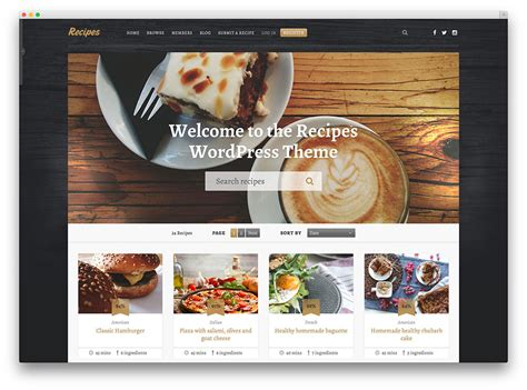 top ten wordpress themes for cooking food blog web