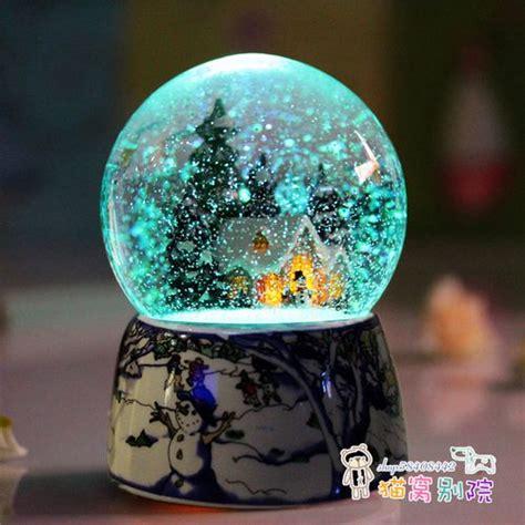 Bola Snowball Musik Box spray snow box rotation luminous box birthday gift inmusic boxes