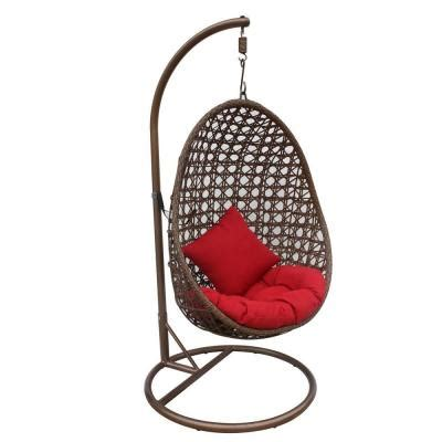 rattan swing chair with stand jlip brown rattan patio swing chair with stand and red