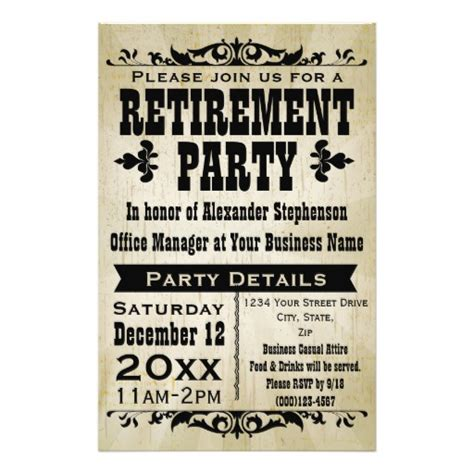 custom vintage country retirement party invitation flyer