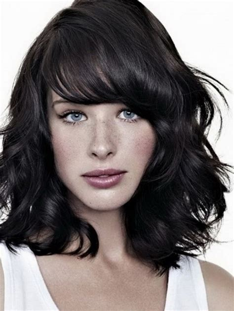 shoulder length hair with bangs curly medium length haircuts with bangs for wavy hair