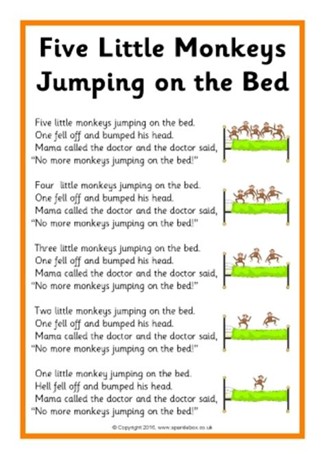 the bed song lyrics five little monkeys jumping on the bed song sheets