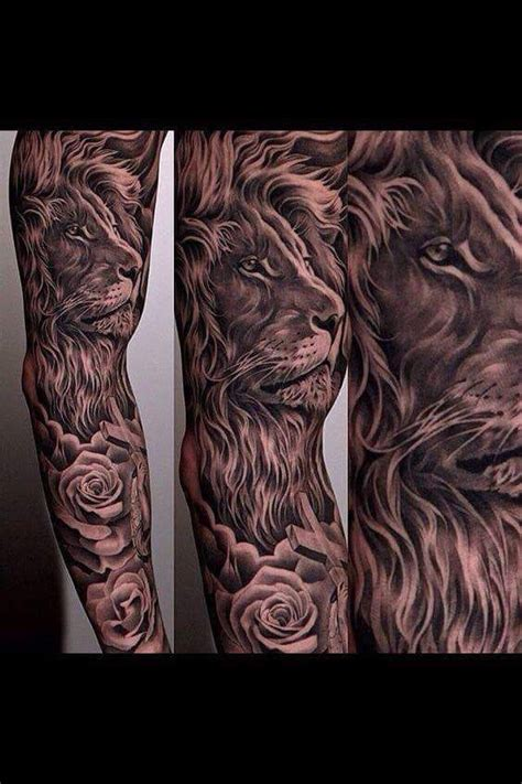 rose and lion tattoo realistic with tattoos