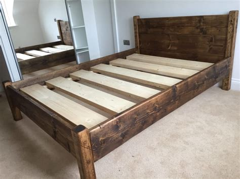 camden chunky rustic solid pine bed frame  headboard