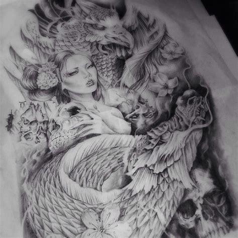 tattoo geisha dragon phoenix dragon tattoos and tattoo designs on pinterest