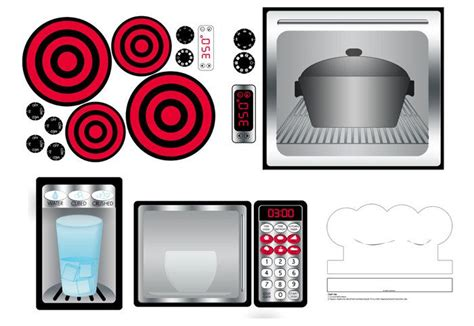 digital  play kitchen stainless printable decals