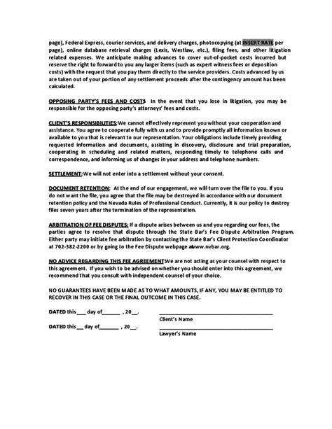 contingency fee agreement template sle contingent fee agreement nevada free