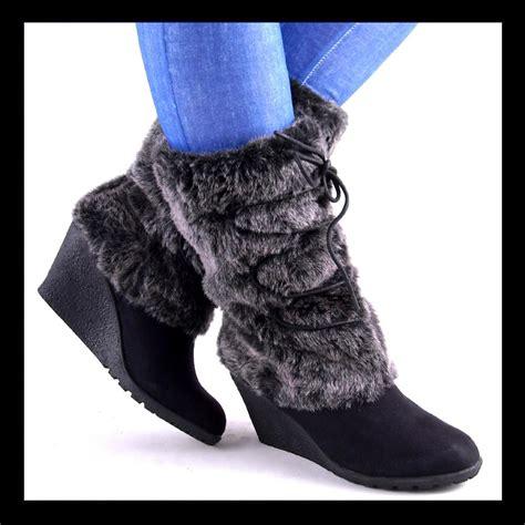 new womens black midcalf fur shaft high wedge boots ebay