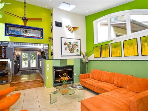 Orange And Lime Green Living Room by Bright Green Living Room With Orange Furniture Home