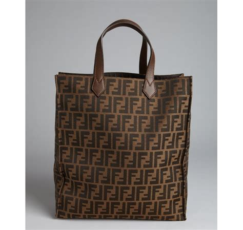 Kaos Fendi Made In Italy lyst fendi tobacco zucca canvas shopper tote in brown