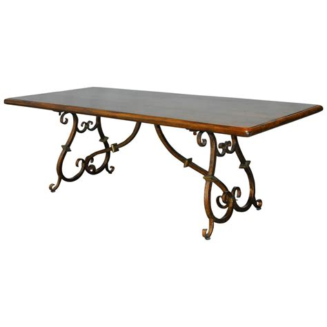 Iron Base Dining Table Colonial Trestle Table With Wrought Iron Scrolled Base At 1stdibs