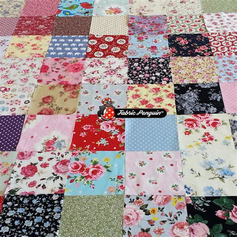 Patchwork Fabrics Uk - 50 x patchwork fabric square 4 quot 10cm charm quilting bundle