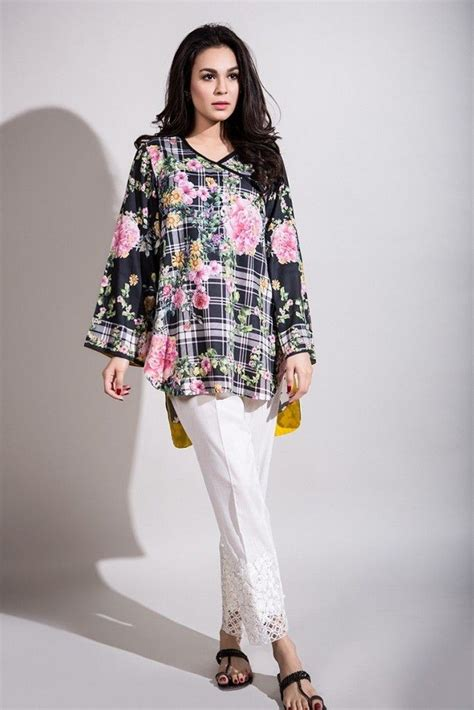 design dress lawn short floral shirt with white trouser girls summer lawn