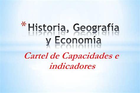 preguntas de historia geografia y economia cartel de capacidades e indicadores historia