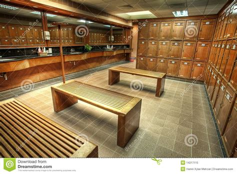 woodworking club changing or locker room in a country club royalty free
