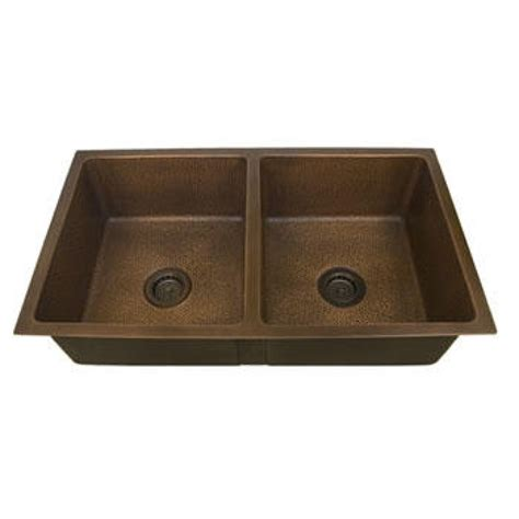 36 Quot Bristol Double Bowl Hammered Copper Undermount Sink Hammered Copper Kitchen Sinks
