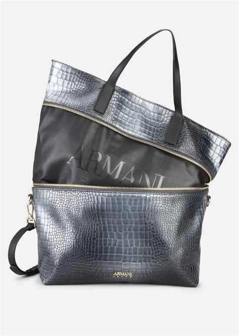 Bag Selempang Emporio Armani 3743 shopping bag with croco print for emporio armani