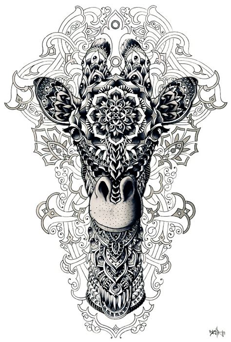 mandala tattoo white animal art drawing giraffe mandala white and black