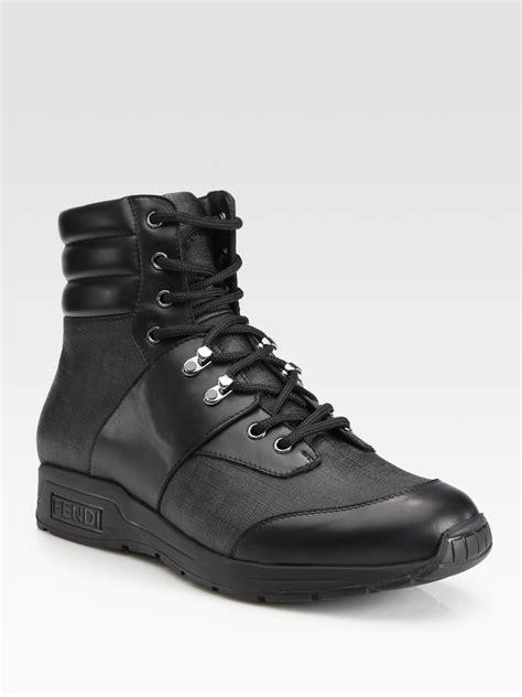 fendi boots for fendi zucca trekking boot in black for lyst