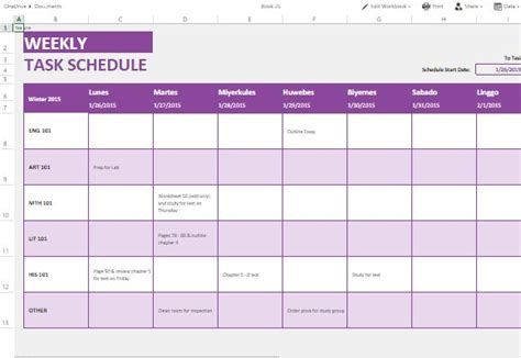 Weekly Task List Template For Excel Online Calendar Task List Template