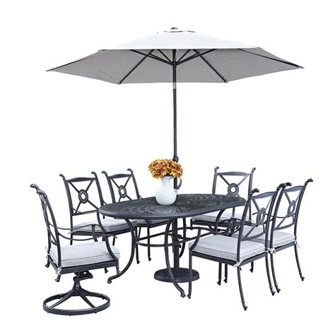 Patio Set Umbrella Home Styles Athens 7 Patio Dining Set With Umbrella 5569 33586 The Home Depot