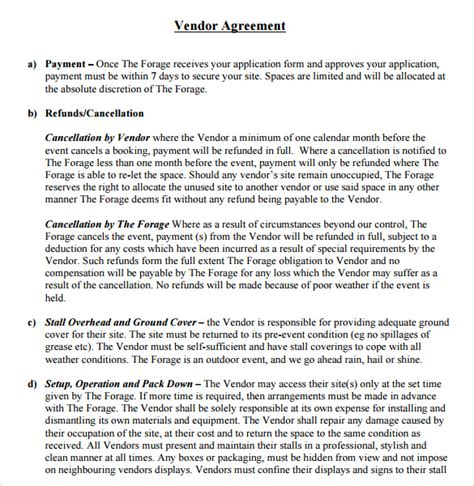 event vendor agreement template sle vendor contract template 9 free sles