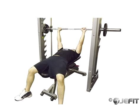 bench on smith machine smith machine bench press exercise database jefit