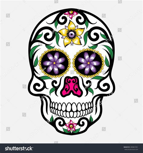 Day Of The Dead Skull Stock Vector Illustration 280867451 Day Of The Dead Skull Vector