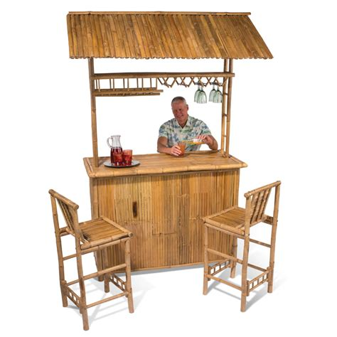 Tiki Bar The Genuine Bamboo Tiki Bar Hammacher Schlemmer