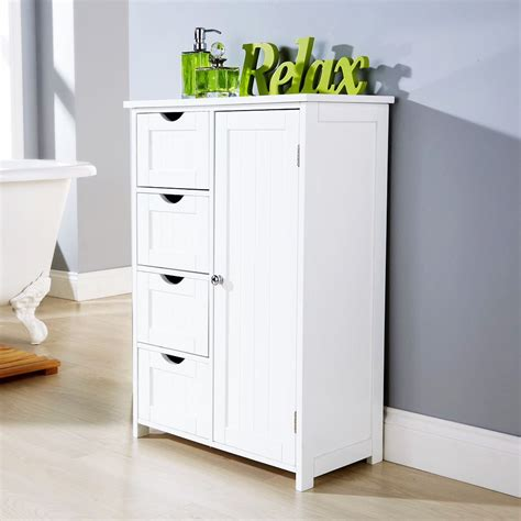 White Multi Use Bathroom Storage Unit 4 Drawer Cabinet Cupboard Shaker Style Ebay White Multi Use Bathroom Storage Unit 4 Drawer Cabinet