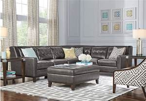 Living Room Sectionals Reina Point Gray Leather 5 Pc Sectional Living Room