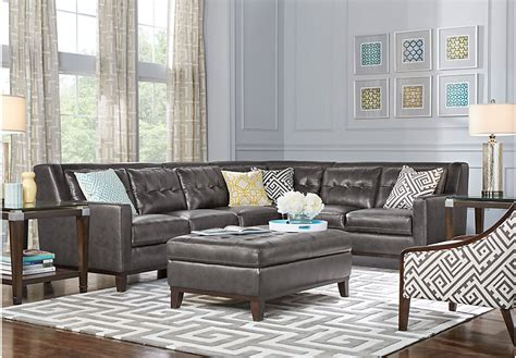 Living Room Grey Leather Sectional With Living Room | reina point gray leather 5 pc sectional living room