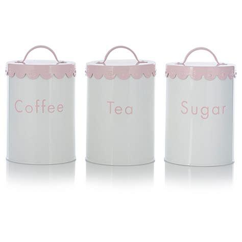 Kitchen Canisters Asda George Home White Scalloped Tea Coffee And Sugar Canister