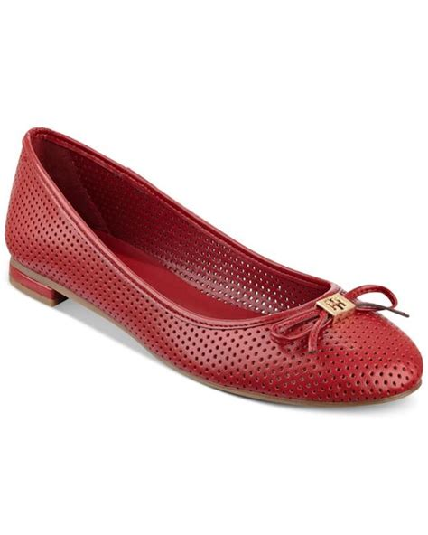hilfiger flat shoes hilfiger mirella perforated ballet flats in lyst